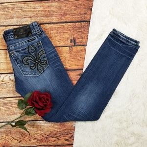Miss Me Bling Fleur de Lis Skinny Jeans 27x32
